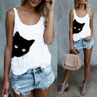Womens Print Casual Tank Tops Vest Blouse Sleeveless Loose O Neck T-Shirt shirt