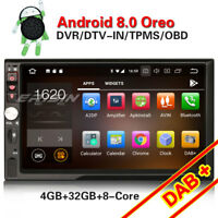 Octa-Core Android 8.0 2DIN Autoradio GPS Bluetooth WiFi 3G DAB+DVR DTV-IN OBD SD
