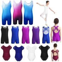 Kids Girls Ballet Dance Leotard Dress Gymnastics Dancewear Biketard Yoga Costume