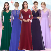 Ever-Pretty Lace Long Sleeve V-Neck Formal Evening Dress Maxi Prom Dresses 08692