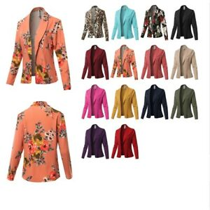 FashionOutfit Women's Solid Long sleeve Open Front Office Blazer Jacket