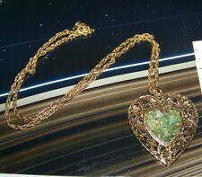 Vintage Pendant Necklace Retro Double Heart Theme with Stones in center