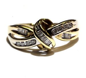 10k white yellow gold .24ct SI2 H womens diamond cluster ring 3.1g estate