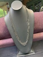 "Vintage 1960 s 54"" Decorative Link Extra Long Sweater Necklace Silver Tone Nice"