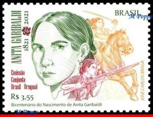 21-11 BRAZIL 2021 ANITA GARIBALDI, HEROINE, JOINT ISSUE WITH URUGUAY, HORSE, MNH