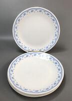 """Set of 8 Corelle Corning MORNING BLUE White Dinner 10.25"""" Plates Blue Flowers AA"""