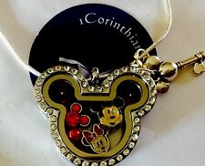Crystal Mickey Mouse Floating/ Memory Locket W/charms Small Box GiftSet OnSale!