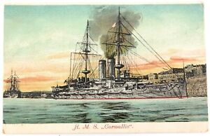 ".MALTA MALTESE RARE EARLY 1900s COLOUR POSTCARD "" H.M.S. CORNWALLIS"""
