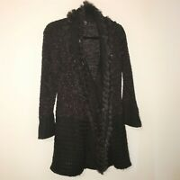 Sioni Women's Knee Length Cardigan with Fur Trim Size M