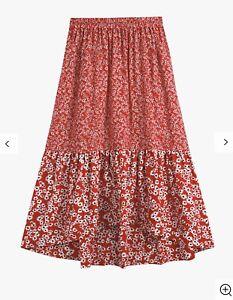 Beautiful hush Veria Frilly Daisy Print Midi Skirt, Red Size 14