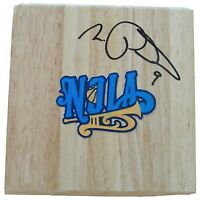Morris Peterson Hornets Autograph Signed Basketball Floor Board Exact Proof COA
