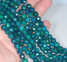 8MM  CHRYSOCOLLA GEMSTONE FACETED ROUND LOOSE BEADS 15.5