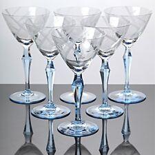 6 Weingläser Weißweingläser Stängelgläser Hellblau Art Deco ~ 30er Jahre Glas