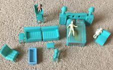 Plastic Blue Living room Bedroom Furniture For Doll House