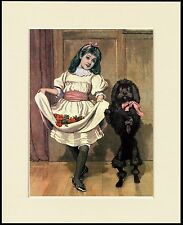 POODLE AND LITTLE GIRL DANCING LOVELY IMAGE DOG PRINT READY MOUNTED