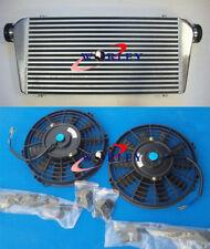 "Universal FMIC Aluminum Turbo Intercooler +FANS 600x300x70mm 3"" IN/OUTLET 76MM"