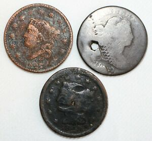3 Coin Lot US Large Cent Copper CULL Coins 1827-1848 Holed Dented Corroded Etc