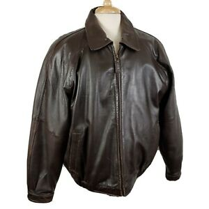 Misty Harbor Original Mens Leather Bomber Jacket Large Brown Zip Quilted Lining
