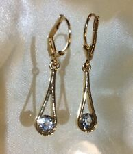 3/4 Ct, Aquamarine Earrings, Dangle, Lever Back, Gold On Sterling Silver