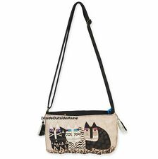 Laurel Burch Wild Cats Gatos Small CrossBody Tote Bag Black White New