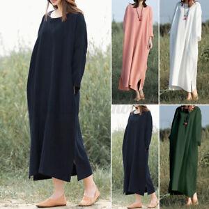 ZANZEA Damen O-Ausschnitt Langärmeliges Maxikleid Baumwolle Weich Kleid Unifarbe