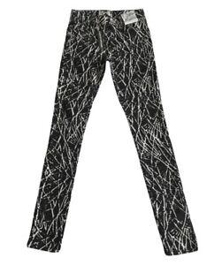 New Miss Selfridge Denim Black / White Soft Super Skinny Abstract Jeans UK 8 £36