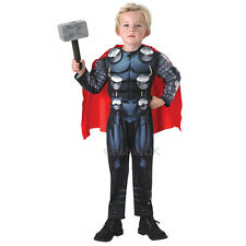 Kids Deluxe Thor Padded Jumpsuit Boys Fancy Dress Costume Cape & Hammer