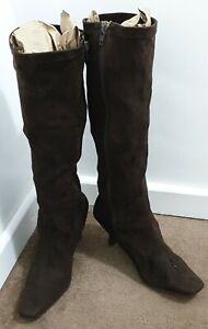 Womens Knee High Mid Kitten Heel Zip Up Faux Suede Boots Shoes Size 5 Stretch FP