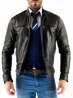 ★Giacca Giubbotto Uomo in di PELLE 100% Men Leather Jacket Veste Homme Cuir Q48