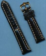 GOLD ROLEX BUCKLE &  20mm GENUINE BLACK LIZARD STRAP BAND LEATHER LINED PADDED