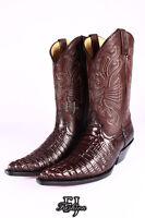 GRINDERS CAROLINA BROWN Mens Crocodile Skin Leather Cowboy Biker Western Boots