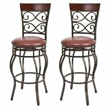 Vintage Bar Stools Swivel Padded Seat Bistro Dining Kitchen Pub Chair- Set of 2