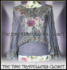 KATE MOSS TOPSHOP LILAC GREY SHEER MOROCCAN EMBROIDERED BEAD BLOUSE TOP UK 8 10