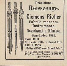 NESSELWANG, Werbung 1911, Clemens Riefler Fabrik mathe Instrumente Pendel Uhr