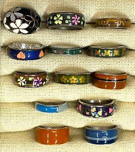 Jewelry Lot Vintage Enamel Rings #O24