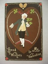 Vintage Tuck'S Embossed Valentine'S Postcard Victorian Man W/ Clovers & Heart