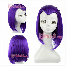 USA ship 35cm Medium Purple Raven From Teen Titans straight Cosply Wig ZY10