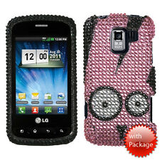 For LG Optimus Zip L75C Crystal Diamond BLING Case Phone Cover Pink Rabbit