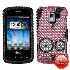 For LG Optimus Zip L75C Crystal Diamond BLING Case Phone Cover Pink Rabbit