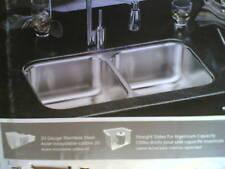 "Nib Nice Elkay Stainless Steel Undermount Two-Bowl Kitchen Sink 32"" x 18"" x 8"""