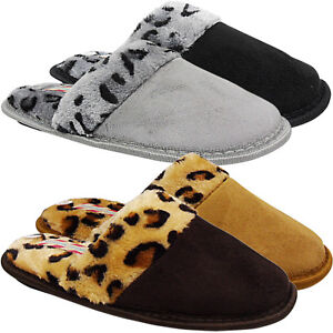 NEW WOMENS LADIES LOW WEDGE LEOPARD SLIP ON MULE COMFORT SLIPPERS SHOES SIZE