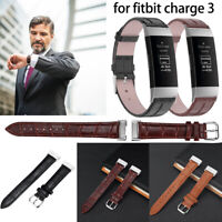 For Fitbit Charge 3 Leather Replacement Bracelet Strap Watch Wristband Band