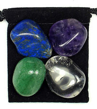 HEADACHE & MIGRAINE RELIEF Tumbled Crystal Healing Set = 4 Stones + Pouch + Card