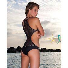 NWT LULI FAMA XS Miami Nights Crochet Monokini Sexy One-Piece Swimwear Black