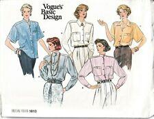 Vogue Sewing Pattern 1813 Blouse Shirts US Size 8-12 Ladies Vintage 1980s UNCUT