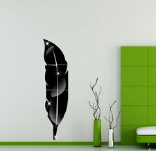 Feather Mirror Glass Tile Wall Stickers Decal Mosaic Room Decor Stick On Modern