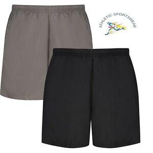 Mens Running Shorts Breathable Lightweight Active Wear Mesh Lining Black Grey