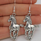 Fashion Horse Drop Hook Earrings 3d Cowboy 925 Silver Pewter Charms Band Jewelry