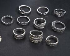 10PCS/SET Vintage Women Finger Knuckle Ring Carved Midi Rings Jewelry Set