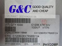 50PCS 1206 X7R 50V SMD 100nF 0.1µF RoHS  Capacitors NEW GOOD QUALITY
